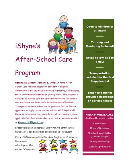 iShyne After School Care - Care.com Shreveport, LA Child Care Center